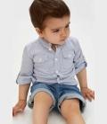 آبی مردانه نوزاد طرحدار پیراهن
