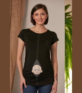 زنانه مشکی حاملگی Hdan Çıkan نوزاد مشکی حاملگی تیشرت