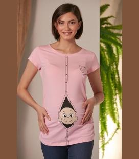 زنانه صورتی حاملگی Hdan Çıkan نوزاد صورتی حاملگی تیشرت