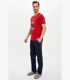 مردانه قرمز جیگری لباس راحتی ست کامل NAZ0SMBR